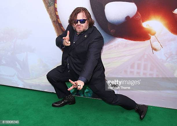 Jack Black arrives for the Australian premiere of Kung Fu Panda 3 at Hoyts Cinemas The Entertainment Quarter Moore Park on March 13 2016 in Sydney...