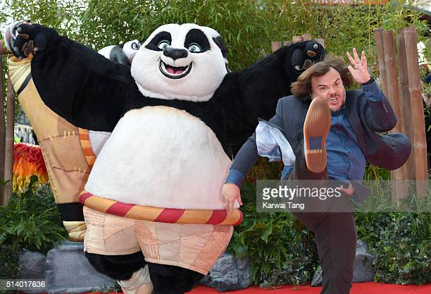 Jack Black arrives for the European premiere of 'Kung Fu Panda 3' at Odeon Leicester Square on March 6 2016 in London England
