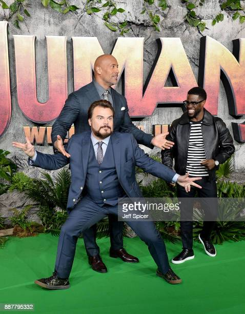 Jack Black Dwayne Johnson and Kevin Hart attend the 'Jumanji Welcome To The Jungle' UK premiere held at Vue West End on December 7 2017 in London...