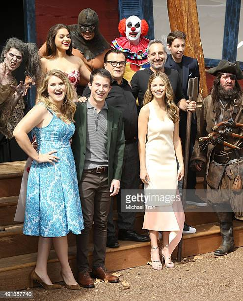 Jack Black Halston Sage Odeya Rush Ken Marino Jillian Bell Dylan Minnette Ryan Lee and Rob Letterman arrive at the world premiere of 'Goosebumps'...