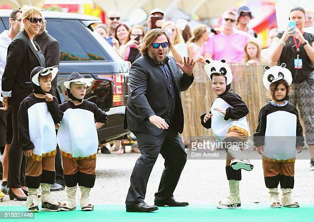 Jack Black poses at the Sydney premiere of Kung Fu Panda 3 at Hoyts Cinemas on March 13 2016 in Sydney Australia