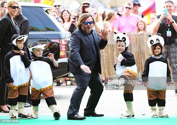 Jack Black poses at the Sydney premiere of Kung Fu Panda 3 at Hoyts Cinemas on March 13 2016 in Sydney Australia