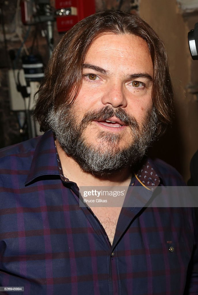 Jack Black poses backstage at the hit musical based on the film starring Jack Black 'School of Rock' on Broadway at The Winter Garden Theatre on May 1, 2016 in New York City.