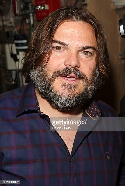 Jack Black poses backstage at the hit musical based on the film starring Jack Black 'School of Rock' on Broadway at The Winter Garden Theatre on May...