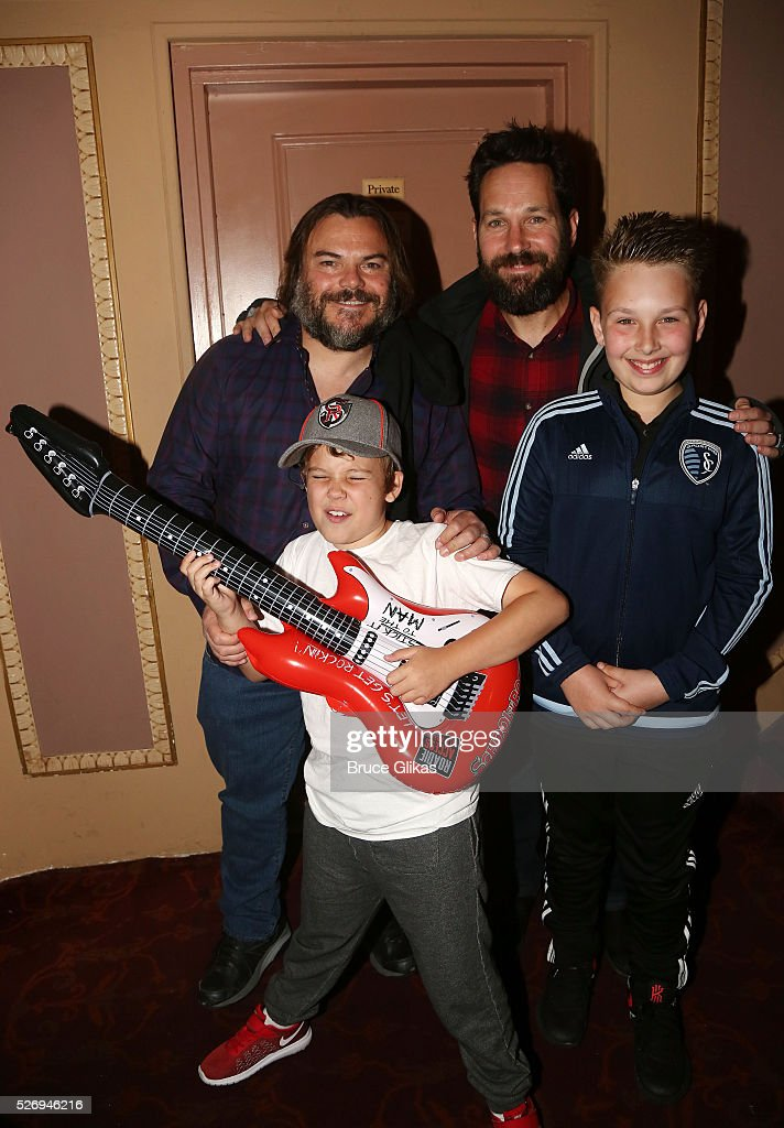 Jack Black, son Samuel black, Paul Rudd and son Jack Sullivan Rudd pose backstage at the hit musical based on the film starring Jack Black 'School of Rock' on Broadway at The Winter Garden Theatre on May 1, 2016 in New York City.