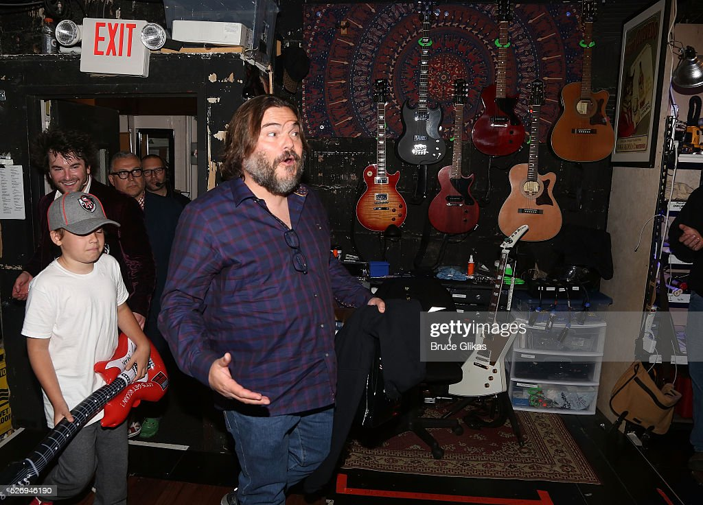 Jack Black (who starred in the film as 'Dewey Finn' visits the cast backstage at the hit musical based on the film starring Jack Black 'School of Rock' on Broadway at The Winter Garden Theatre on May 1, 2016 in New York City..