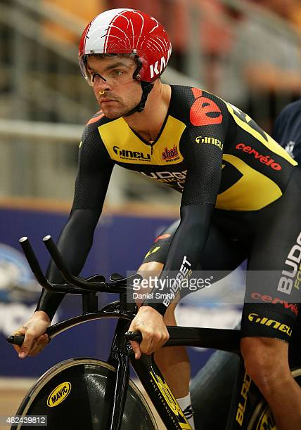Jack Bobridge of South Australia on his saddle before the qualifying round of the Men's Team Pursuit during the 2015 National Track Cycling...