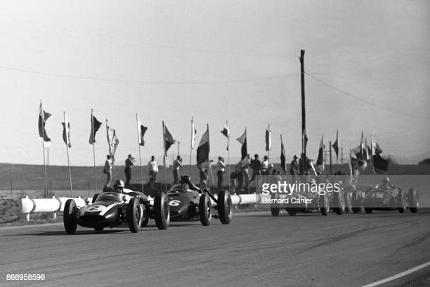 Jack Brabham Dan Gurney Stirling Moss CooperClimax T53 BRM P48 LotusClimax 18 Grand Prix of the United States Riverside International Raceway 20...