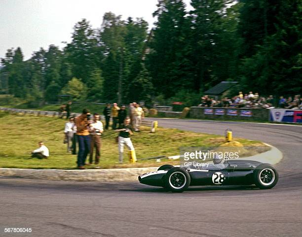 Jack Brabham in a Cooper Climax T55 at La Source hairpin Belgian GP spa Francorchamps Belgium 18th June 1961