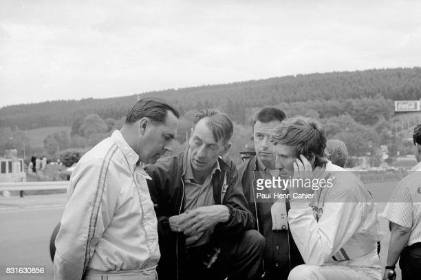 Jack Brabham Ron Tauranac Leo Mehl Jochen Rindt Grand Prix of Belgium Spa Francorchamps 09 June 1968 Jack Brabham and Jochen Rindt in conversation...