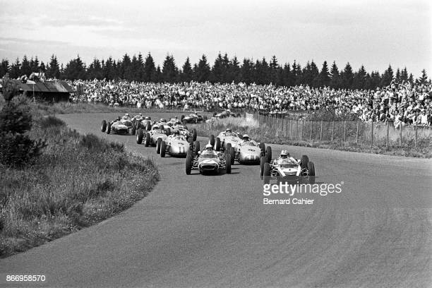 Jack Brabham Stirling Moss Jo Bonnier Dan Gurney CooperClimax T55 LotusClimax 18/21 BRMClimax P48/57 Grand Prix of Germany Nurburgring 06 August 1961...