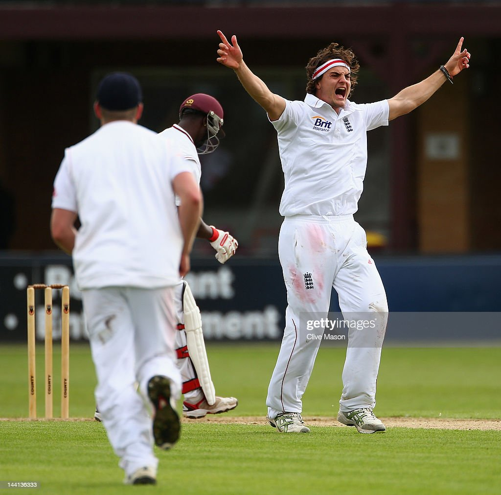 Jack Brooks of England Lions appeals sucessfully for the wicket of <a gi-track='captionPersonalityLinkClicked' href=/galleries/search?phrase=Kemar+Roach&family=editorial&specificpeople=5408487 ng-click='$event.stopPropagation()'>Kemar Roach</a> of West Indies during day one of the tour match between England Lions and West Indies at The County Ground on May 10, 2012 in Northampton, England.