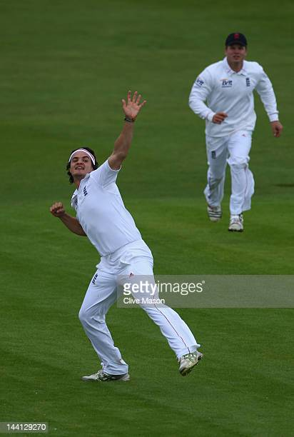 Jack Brooks of England Lions celebrates dismissing Adrian Barath of West Indies during day one of the tour match between England Lions and West...