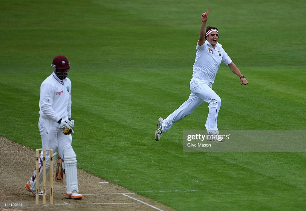 Jack Brooks of England Lions celebrates dismissing <a gi-track='captionPersonalityLinkClicked' href=/galleries/search?phrase=Fidel+Edwards&family=editorial&specificpeople=217762 ng-click='$event.stopPropagation()'>Fidel Edwards</a> of West Indies during day one of the tour match between England Lions and West Indies at The County Ground on May 10, 2012 in Northampton, England.