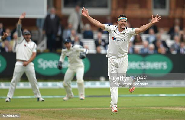 Jack Brooks of Yorkshire appeals and dismisses Nick Compton of Middlesex during day one of the Specsavers County Championship Division One cricket...