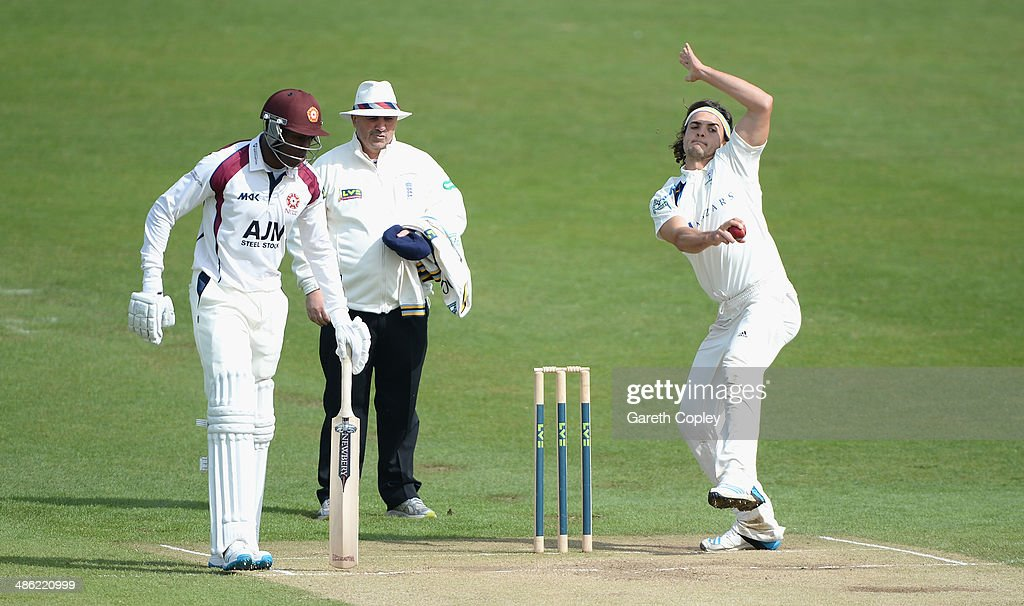 Jack Brooks of Yorkshire bowls during day four of the LV County Championship division One match between Yorkshire and Northamptonshire at Headingley on April 23, 2014 in Leeds, England.