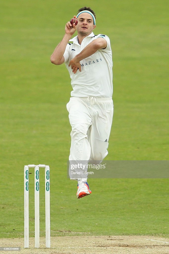 Jack Brooks of Yorkshire bowls during day three of the Specsavers County Championship: Division One match between Yorkshire and Lancashire at Headingley on May 31, 2016 in Leeds, England.