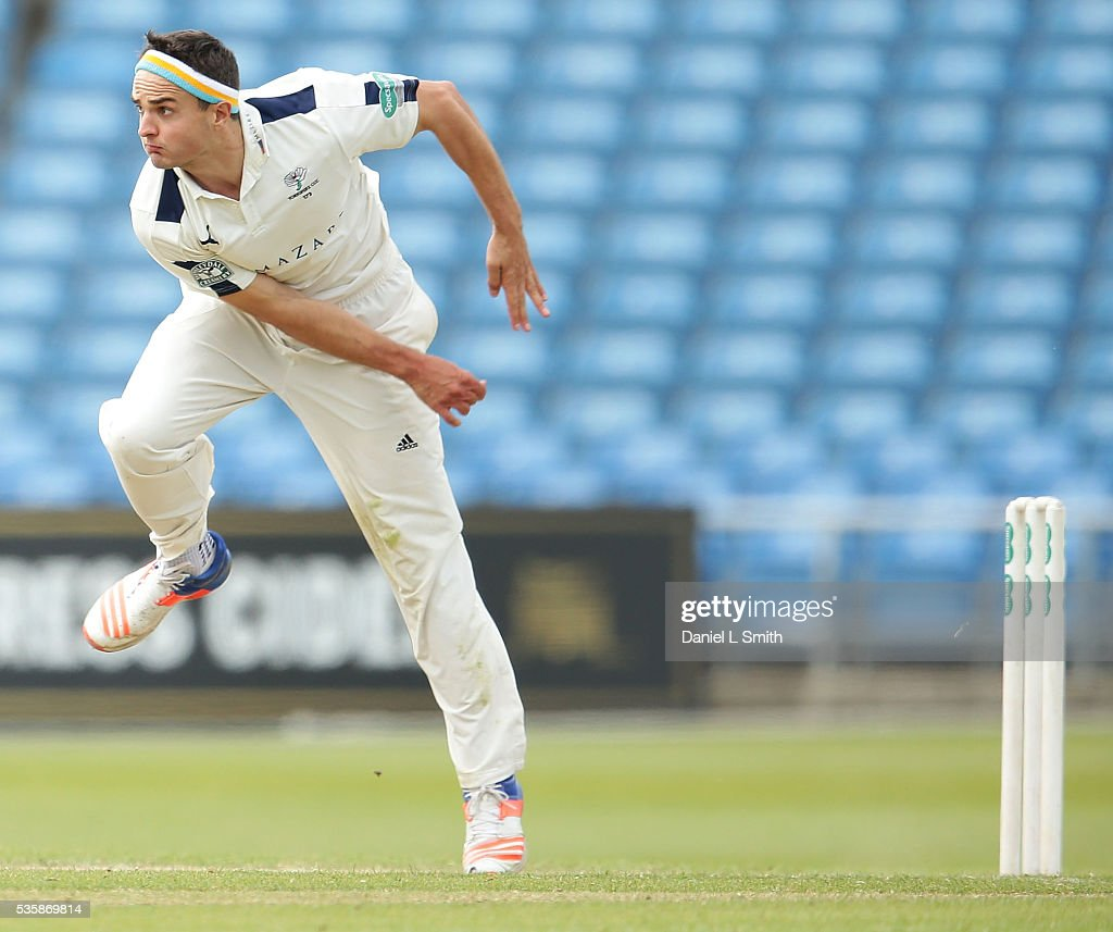 Jack Brooks of Yorkshire bowls during day two of the Specsavers County Championship: Division One match between Yorkshire and Lancashire at Headingley on May 30, 2016 in Leeds, England.
