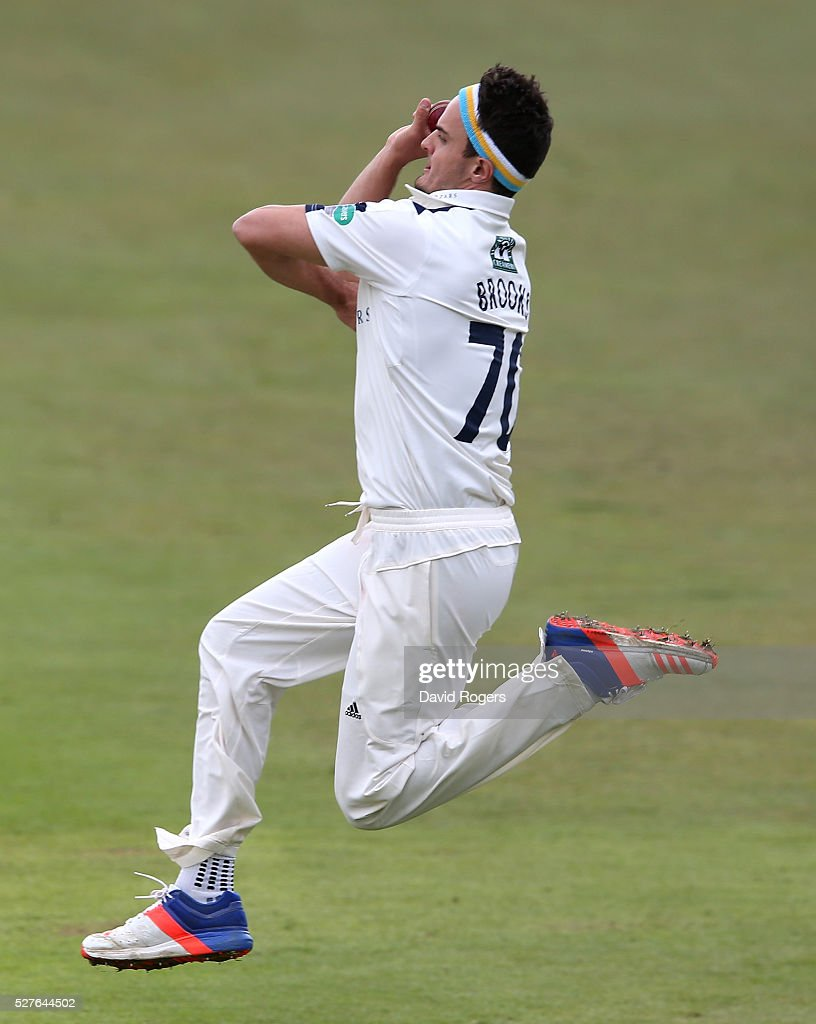 Jack Brooks of Yorkshire bowls during the Specsavers County Championship division one match between Nottinghamshire and Yorkshire at the Trent Bridge on May 3, 2016 in Nottingham, England.