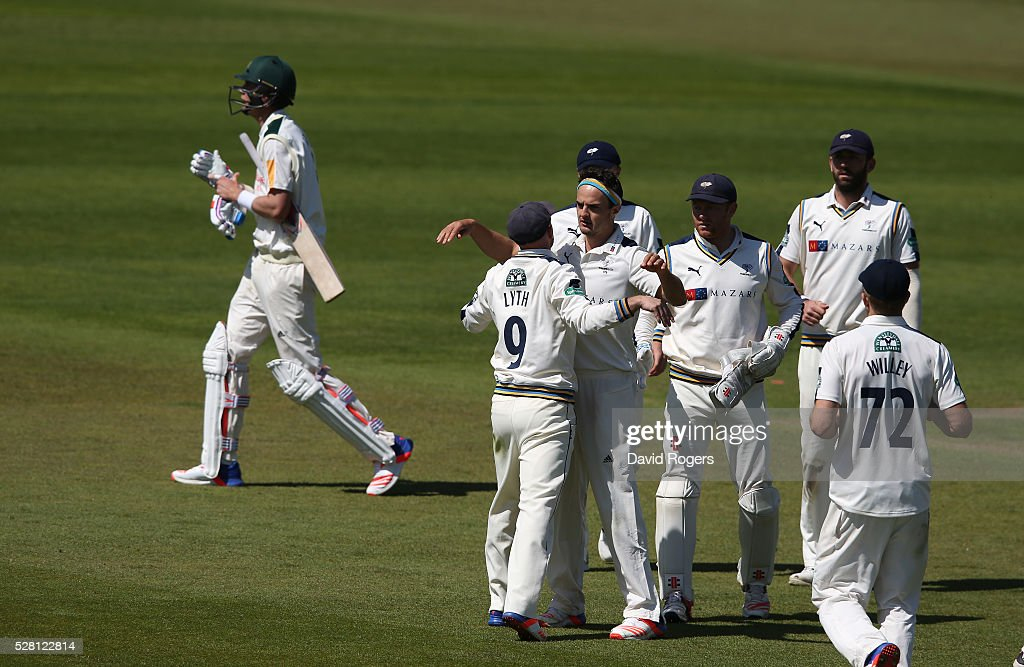 Jack Brooks of Yorkshire celebrates after taking the wicket of Stuart Broad during the Specsavers County Championship division one match between Nottinghamshire and Yorkshire at Trent Bridge on May 4, 2016 in Nottingham, England.