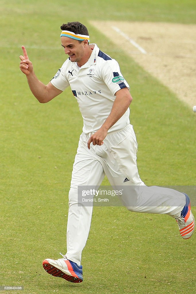 Jack Brooks of Yorkshire celebrates dismissing Alviro Petersen of Lancashire LBW during day two of the Specsavers County Championship: Division One match between Yorkshire and Lancashire at Headingley on May 30, 2016 in Leeds, England.