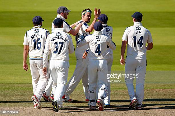 Jack Brooks of Yorkshire celebrates the wicket of Neil Dexter of Middlesex during the LV County Championship between Middlesex and Yorkshire at...