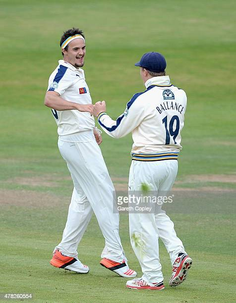 Jack Brooks of Yorkshire celebrates with Gary Ballance after dismissing Will Gidman of Nottinghamshire during day three of the LV County Championship...
