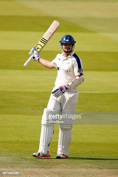 Jack Brooks of Yorkshire celevrates his half century during the LV County Championship between Middlesex and Yorkshire at Lord's Cricket Ground on...