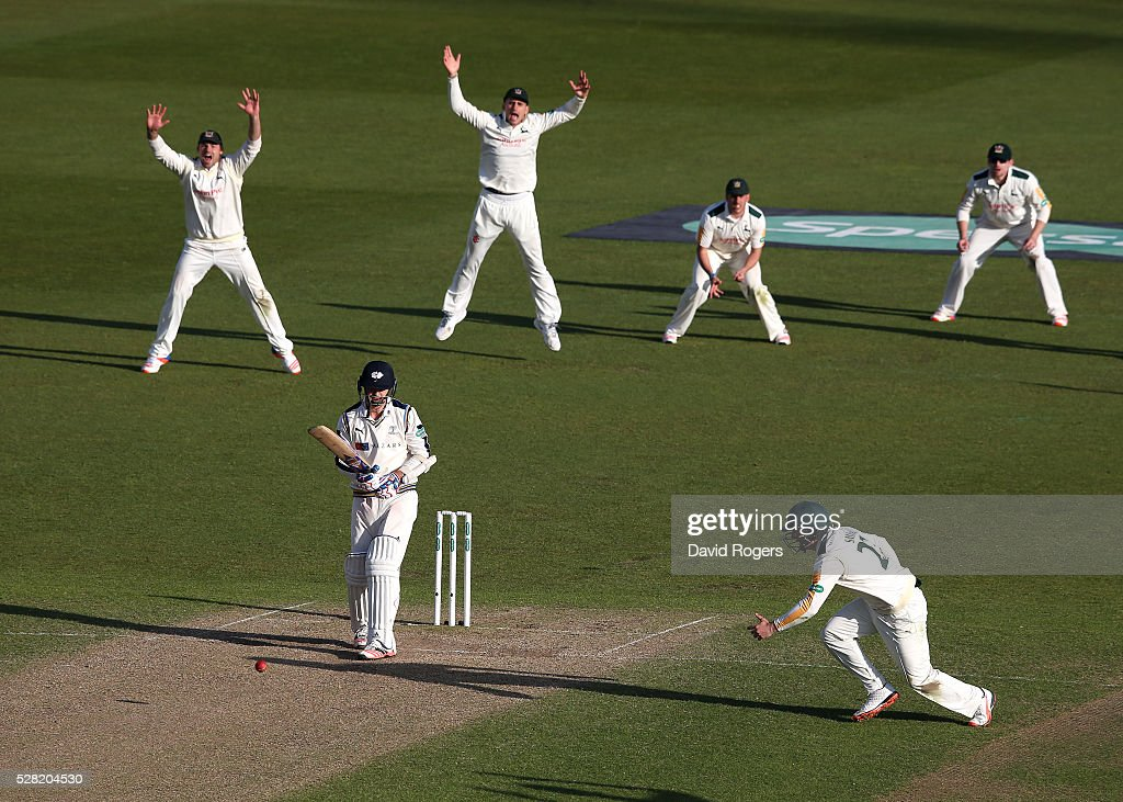 Jack Brooks of Yorkshire edges the ball but it falls short of the close fielders to ensure a draw during the Specsavers County Championship division one match between Nottinghamshire and Yorkshire at Trent Bridge on May 4, 2016 in Nottingham, England.