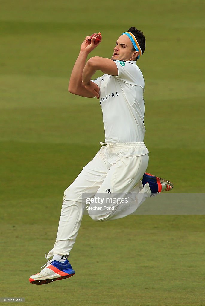 Jack Brooks of Yorkshire in action bowling during day one of the Specsavers County Championship Division One match between Nottinghamshire and Yorkshire at Trent Bridge on May 1, 2016 in Nottingham, England.