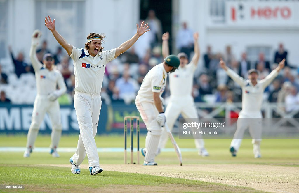 Jack Brooks of Yorkshire sucessfully appeals for a LBW against Michael Lumb of Notts during the third day of the LV County Championship match between...