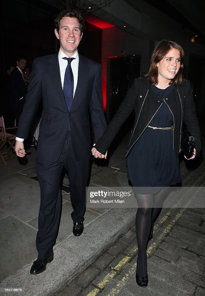 Jack Brooksbank and <a gi-track='captionPersonalityLinkClicked' href=/galleries/search?phrase=Princess+Eugenie&family=editorial&specificpeople=160237 ng-click='$event.stopPropagation()'>Princess Eugenie</a> of York at the Downtown Mayfair restaurant for Heather Kerzner's birthday celebration on March 19, 2013 in London, England.