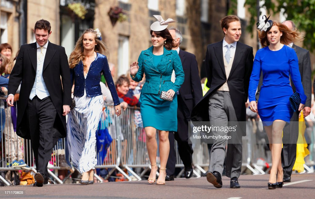 Jack Brooksbank, Cressida Bonas, Princess Eugenie, Dave Clark and Princess Beatrice attend the wedding of Lady Melissa Percy and Thomas Van Straubenzee at St Michael's Church on June 22, 2013 in Alnwick, England.