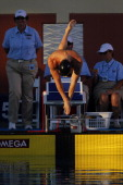 Jack Brown flies off the block to start the Bfinal of the men's 200 meter breaststroke finals during the ConocoPhillips USA Swimming National...