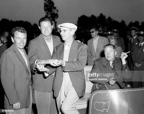 Jack Burke Jr Horton Smith Clifford Roberts and Bobby Jones at the Presentation Ceremony after the 1956 Masters Tournament at Augusta National Golf...