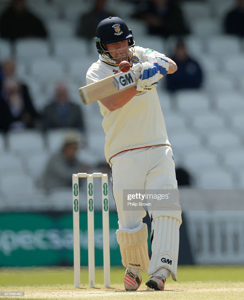Jack Burnham of Durham bats during day three of the Specsavers County Championship Division One match between Surrey and Durham at the Kia Oval on May 3, 2016 in London, England.