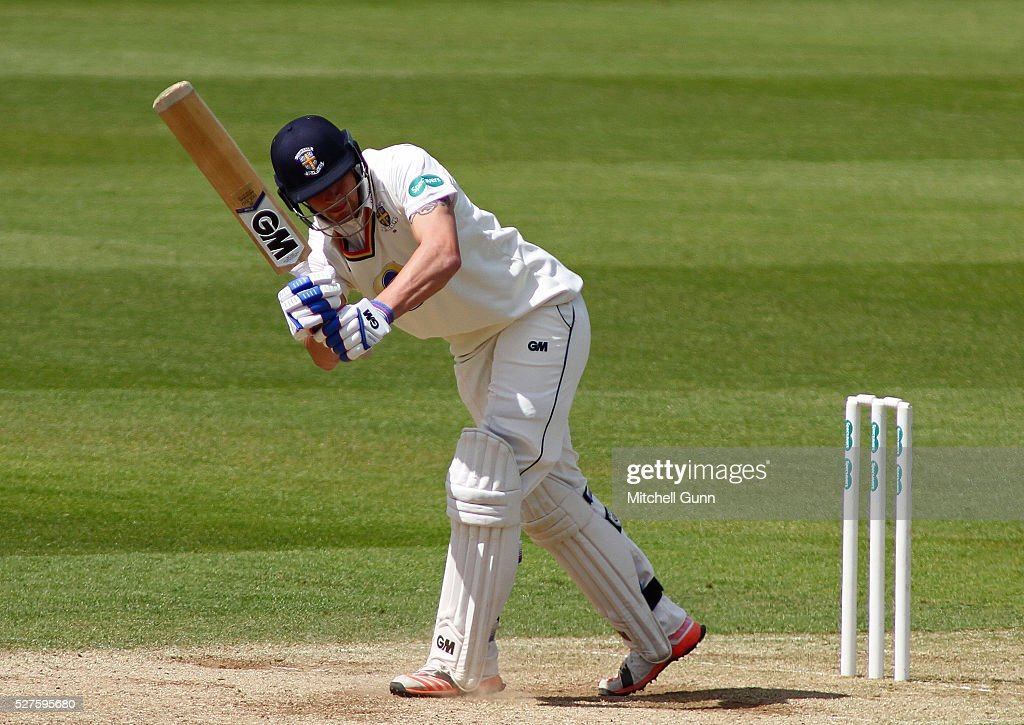 Jack Burnham of Durham plays a shot during the Specsavers County Championship Division One match between Surrey and Durham at the Kia Oval Cricket Ground, on May 03, 2016 in London, England.