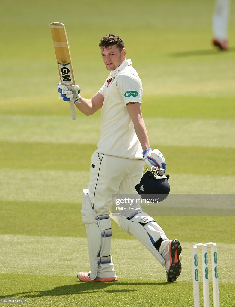 Jack Burnham of Durham reaches his century during day three of the Specsavers County Championship Division One match between Surrey and Durham at the Kia Oval on May 3, 2016 in London, England.