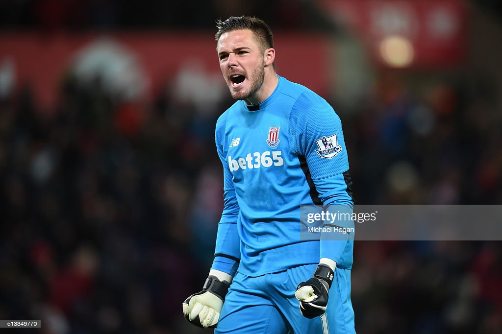 Jack Butland goalkeeper of Stoke City celebrates the opening goal scored by Xherdan Shaqiri (not pictured) during the Barclays Premier League match between Stoke City and Newcastle United at the Britannia Stadium on March 2, 2016 in Stoke on Trent, England.