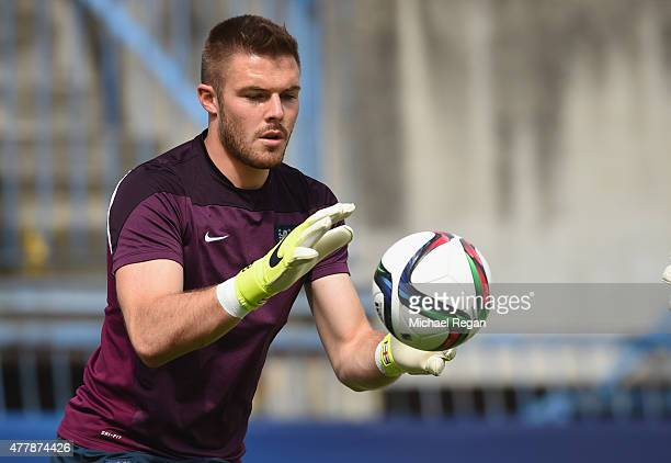 Jack Butland in action during the England U21 training session and press conference on June 20 2015 in Olomouc Czech Republic