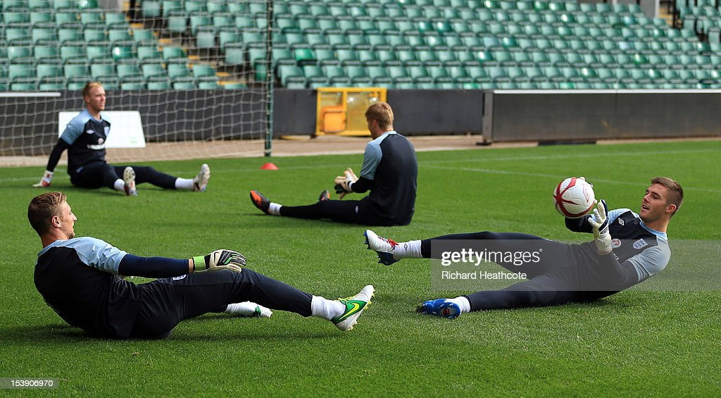 Jack Butland (R) in action during the England U21 training session at Carrow Road on October 11, 2012 in Norwich, England. England's U21 team will play Serbia U21 in the first leg of the U21 European Championship play-off's at Carrow Road tomorrow night.