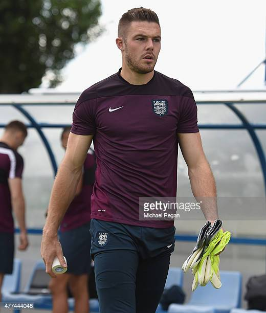 Jack Butland looks on during the England U21 training session on June 17 2015 in Olomouc Czech Republic