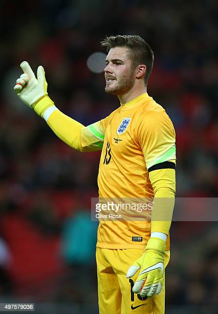 Jack Butland of England gestures during the International Friendly match between England and France at Wembley Stadium on November 17 2015 in London...