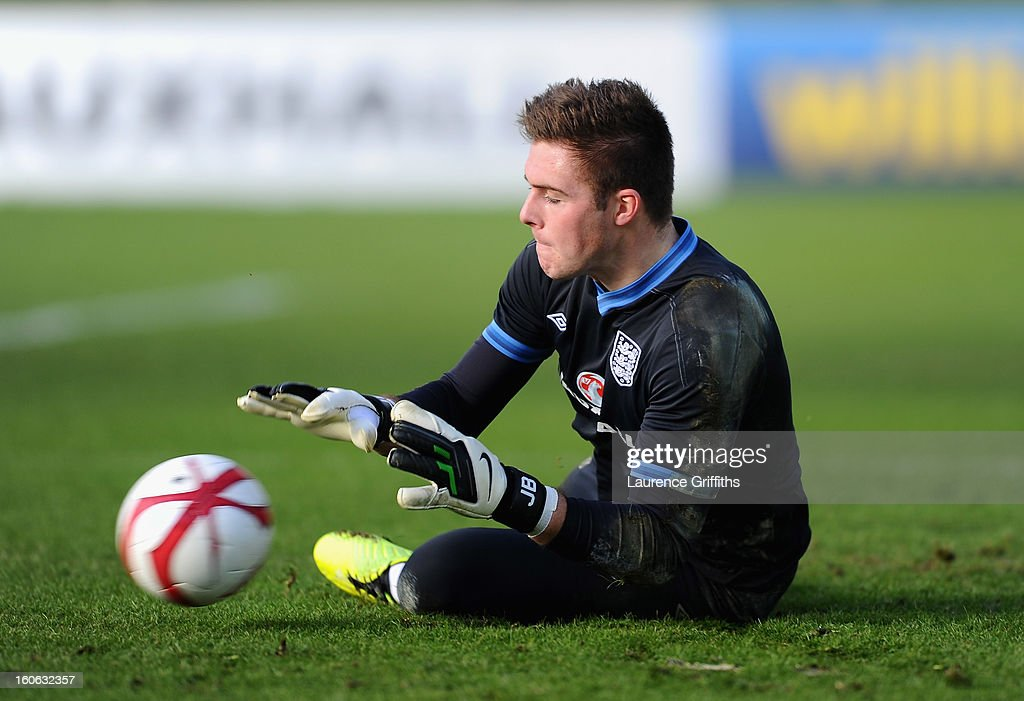 Jack Butland of England in action during a training session at St Georges Park on February 4, 2013 in Burton-upon-Trent, England.