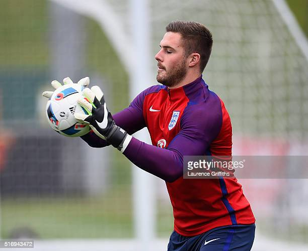 Jack Butland of England in action during England Training Session and Press Conference at St Georges Park on March 22 2016 in BurtonuponTrent England