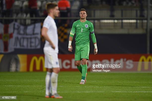 Jack Butland of England looks dejected during the UEFA Under21 European Championship match between England and Italy at Andruv Stadium on June 24...