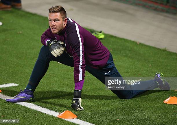 Jack Butland of England looks on during a training session at the LFF Stadium on October 11 2015 in Vilnius Lithuania