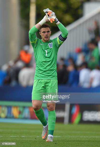 Jack Butland of England looks on during the UEFA Under21 European Championship 2015 match between Sweden and England at Andruv Stadium on June 21...