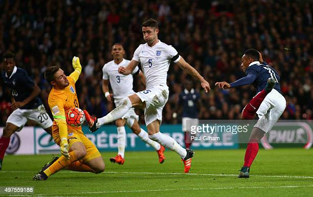 Jack Butland of England makes a save during the International Friendly match between England and France at Wembley Stadium on November 17 2015 in...
