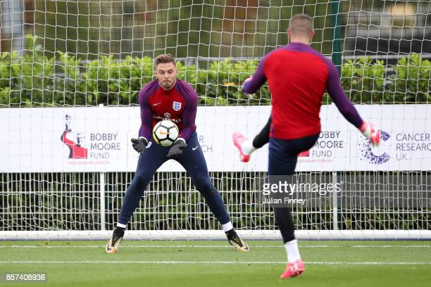 Jack Butland of England takes part in a England Training Session at the Tottenham Hotspur training ground on October 4 2017 in Enfield England